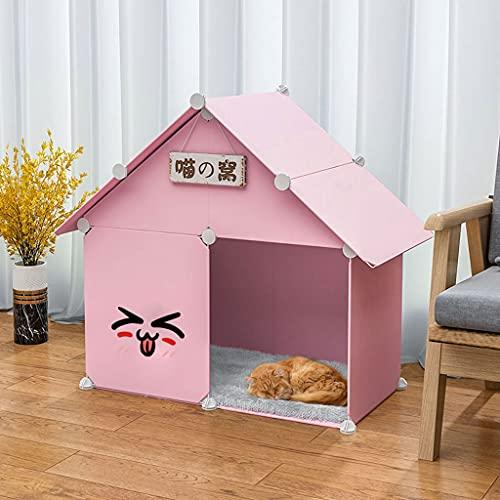 SHENXINCI Schön Katzenhaus,Halbgeschlossen Katzenvilla Für Katzen Und Kleine Hunde Mit Schlafmatratze,29,5 X 15,35 X 29,1 Zoll,gelb/rosa/blau