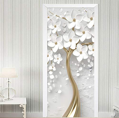 LLWYH Türtapete Selbstklebende 3D Weiße Blume Wohnzimmer Schlafzimmer Wasserdicht Fototapete Türfolie Poster Tapete 90x200cm (Einschließlich 3 Sätze der gleichen Türaufkleber)