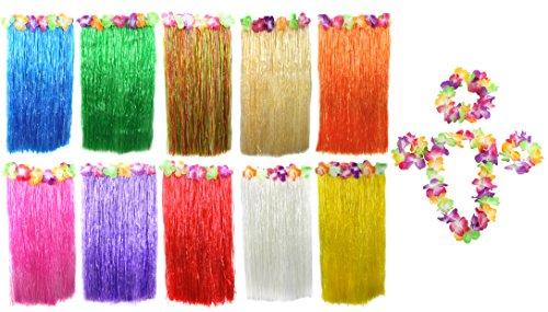 Juego de disfraz de Hawai, de 80 cm de largo, falda de Hawai, collar de flor LEI + par de brazaletes de flores + diadema de flores, 5 piezas de falda de hierba Hawai, color amarillo