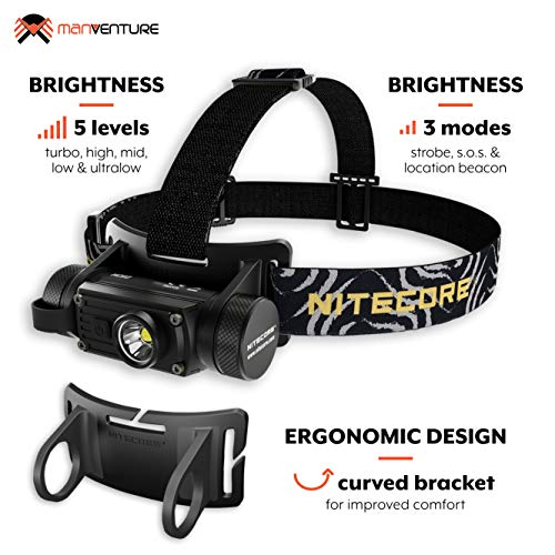 Nitecore HC60 Headlamp Rechargeable - Powerful LED 1000 Lumens - Waterproof Head Torch [ Rechargeable Li-ion Battery 18650 Included ]