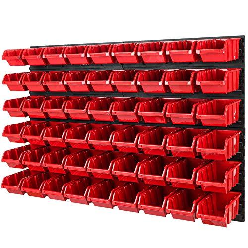 Stapelboxen Wandregal - 1152 x 780 mm - Lagersystem 54 tlg Boxen Werkzeuglochwand Schüttenregal (Rot)