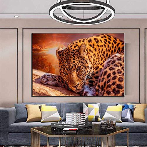 SNGTOW Animales de Gran tamaño, Negro y Colorido, imágenes de Tigre, Pintura en Lienzo, Arte de Pared, póster Moderno e Impresiones en la decoración de la Sala de Estar, hogar, 80X120CM, sin Marco