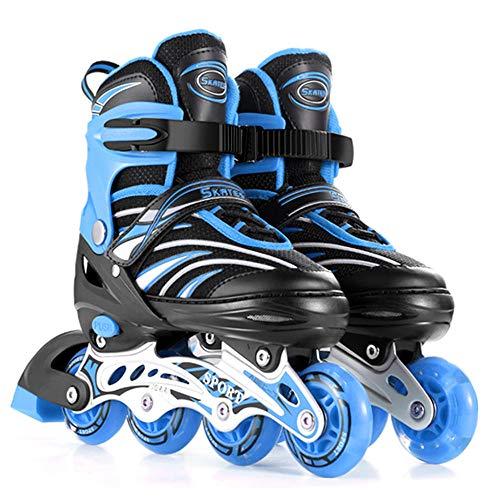 Kinder Inliner Herren Damen verstellbare Inlineskates Größe 26-43 Unisex Fitness Skates für Erwachsene Rädern Rollschuhe für Jungen Mädchen Anfänger Dreifacher Sicherheitsschutz-L(39-43) Blau