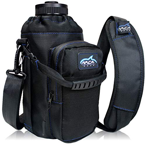 Arca Gear 64oz Hydro Carrier - Insulated Water Bottle Sling w/Carry Handle, Shoulder Strap, Wallet and Two Pouches - The Perfect Flask Accessory