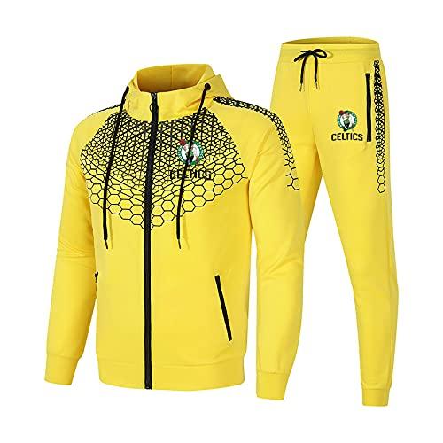 SPONYBORTY Conjunto de chándal para hombre y mujer Traje de jogging Cel-tics Suéter con capucha a rayas de 2 piezas + Pantalones traje deportivo Completo/yellow/M