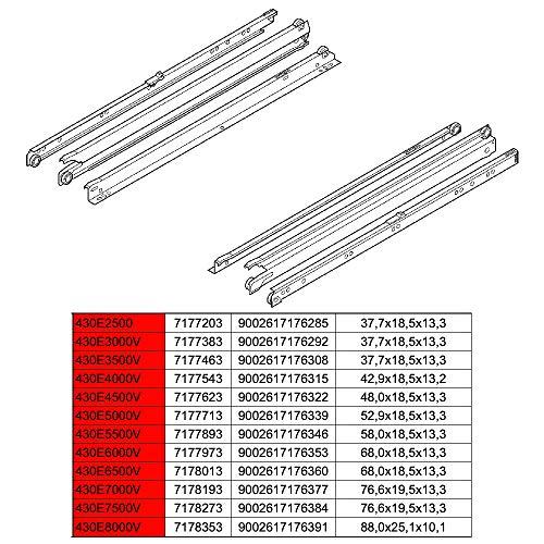 Blum STANDARD Rollschubführung, Schubladenschiene, Vollauszug, 30 kg, NL=500 mm, links/rechts 430E5000V