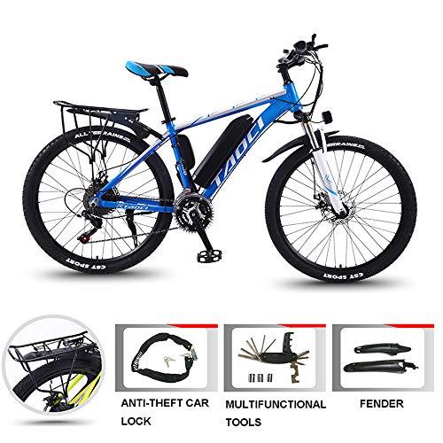 YDYG 26 Pulgadas Bicicleta eléctrica, Bicicleta de montaña 36V 350W 8Ah / 13Ah Batería de Litio de 10Ah / extraíble, Profesional de Bicicleta eléctrica para los Adultos, 21 Velocidad,Azul,36V13AH