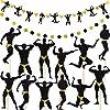 男性ダンサーバナー 2ピース 男性カップケーキトッパー 12ピース 筋肉男性バナー 独身パーティーバナー ガーランド ヘンパーティー用品 バレンタインデー ブライダルシャワーパーティーデコレーション