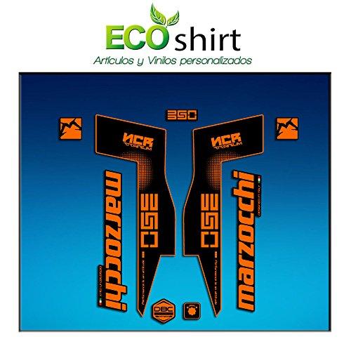 Ecoshirt WO-LASC-PWLY Stickers Fork Marzocchi 350 NCR Titanium Am72 Aufkleber Decals Autocollants Fourche Gabel Fourche Fourche Orange