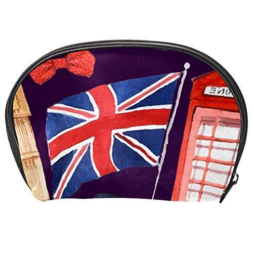 TIZORAX Kosmetiktasche mit Londoner Flagge, roter Bus, Reise-Organizer, Make-up-Tasche für Frauen und Mädchen