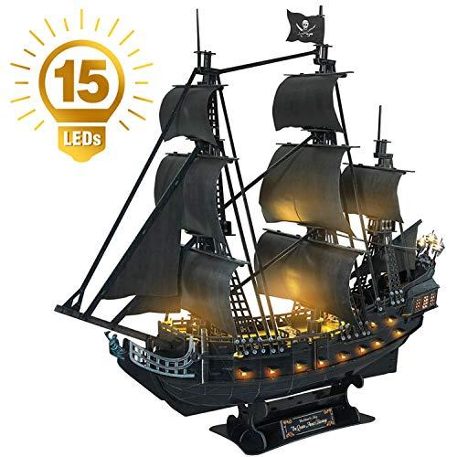 CubicFun 3D Puzzle Berühmtes Schiff Modell und Segeln Kit Spielzeugspiel Geschenk für Kinder und Erwachsene (1/95︱LED Queen Anne's Revenge)
