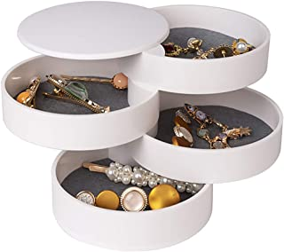 Jewelry Organizer, Small Jewelry Box Earring Holder for Women, Jewelry Storage Box 4-Layer Rotatable Jewelry Accessory Sto...