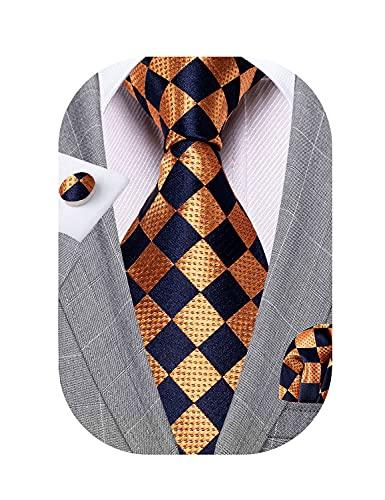 YOHOWA Men Plaid Ties Silk Navy Copper Necktie Handkerchief Cufflinks Set Formal Business Wedding 59