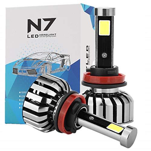 Bombillas de faros LED H8 / H9 / H11 con chip avanzado (80W / 8000LM / 6000K) - Cojín de luces LED SUPER Bright COB resistente a la intemperie, juego de conversión todo en uno de 2 piezas