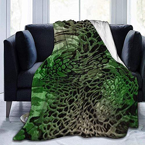 Cy-ril Throw Blanket Green Snake Manta de Felpa de Terciopelo de Franela Ultra Suave de Felpa 100 X 130 cm