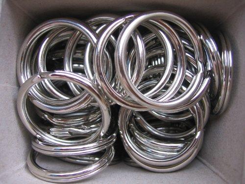 Lot de 100 anneaux de porte-clés en métal trempé nickelé 35 mm