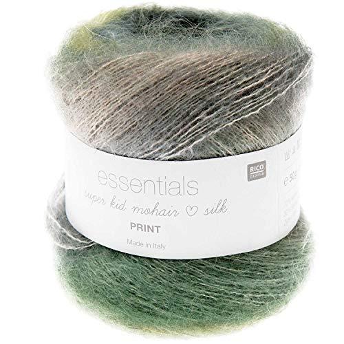 Rico Essentials Super Kid Mohair Loves Silk Print, Lacegarn Mohair Seide Farbverlauf zum Stricken und Häkeln, Lacewolle Nadelstärke 4,5 mm, 50g ca. 400m (010 Wald, Grundpreis: 36,98€/100g)