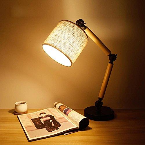 LANS Table lamp bedroom creative minimalist modern wood folding adjustable study dorm desk bedside reading lights , warm light