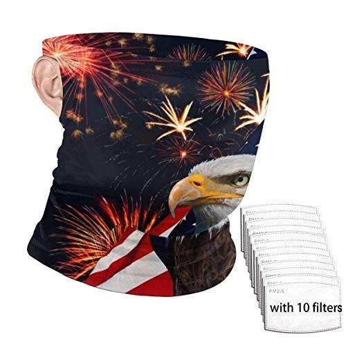 ENZOOIHUI Águila Calva, Bandera Americana, Fuegos Artificiales, patrón, Bufanda de la Cara sin Costuras, bucles de Oreja con 10 filtros Antipolvo, Polaina, Cuello, Gorro, pasamontañas