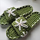 JJZXLQ Zapatos de Bricolaje Ganchillo Hecho a Mano Tejer A Crochet Transpirable Cómodo Zapatillas Zapatillas Mujeres y Hombres Zapatillas de casa,Verde,41