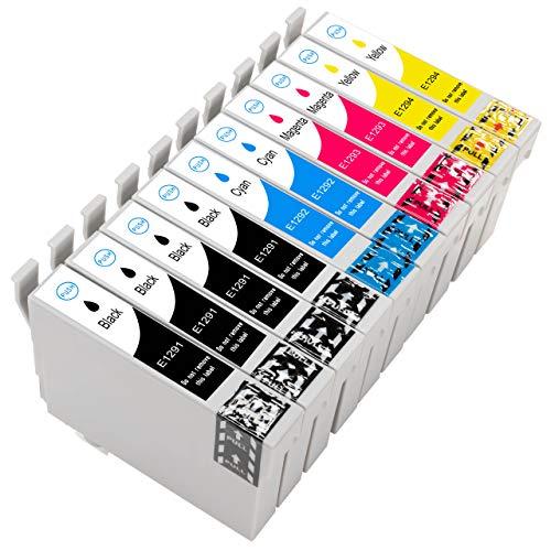 Druckerpatronen komp. für Epson T1291 T1292 T1293 T1294 T1295 10 Stück: 4x Schwarz 2x Blau 2x Rot 2x Gelb