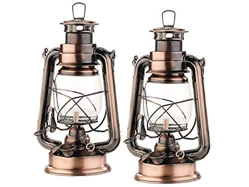 Lunartec Öllampe: 2er-Set nostalgische Petroleum-Sturmlaternen mit Glaskolben, 24 cm (Laternen)