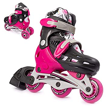 New Bounce Roller Skates for Little Kids - Shoe Size EU 28-31 US Kids Junior Size 8-11 2-in-1 Roller Skates for Girls Converts from Tri-Wheel to Inline Skates - Rollerskates for Beginners   Pink