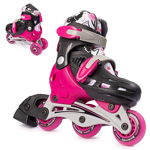 New Bounce Roller Skates for Little Kids - Shoe Size EU 28-31, US Kids Junior Size 8-11, 2-in-1 Roller Skates for Girls, Converts from Tri-Wheel to Inline Skates - Rollerskates for Beginners | Pink