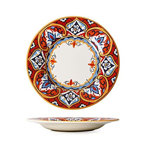 JSJJAEY Plato de Cena Flor Pintada a Mano Plato de Cena de cerámica, vajilla, vajilla, Sopa Creativa, Cuenco de arroz, Plato Profundo, bajo, vidriera, Postre, Bandeja de Carne (Color : 11 Inch)