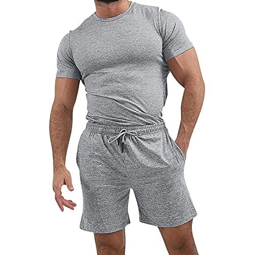 Nuevo 2021 Traje Camiseta pantalones cortos Hombre, 2pc Verano Manga Corta gym Chándal de hombres ropa de deporte Fitness Patchwork Moda Diario Casual Camiseta Slim Fit Tops T-shirt Camiseta suave