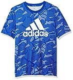 adidas mens Essentials All Over Print T-Shirt Team Royal Blue/White Medium