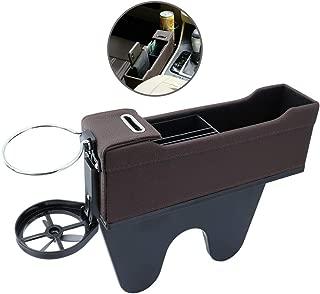 Car Seat Gap Filler Organizer, PU Leather Car Seat Side Pocket Organizer Car Seat Storage Box Organizer Mobile Phone Holder Box Card Wallet Cigarette Lighter Coin Keys Box for Drinks,Sunglasses