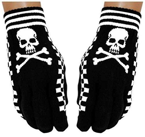 Gothic Handschuhe Totenkopf mit Knochen, Schwarz, Weiß, S-L