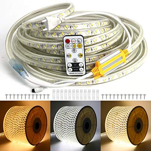 VAWAR 25m LED Band, Farbwechsel von Warmweiß/Kalt Weiß/Neutral Weiß, 3 Farben in 1 Strip, 5730 120 Leds/m Lichtleiste, 220V 230V Beleuchtung, wasserdicht Lichtschlauch mit 14 Tasten Fernbedienung