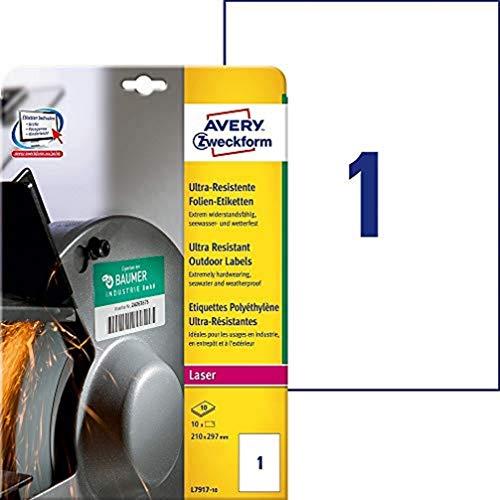 AVERY Zweckform L7917-10 Strapazierfähige Folienetiketten (210x297 mm auf DIN A4, extrem stark selbstklebend, wasserfest, bedruckbare Outdoor Klebefolie) 10 Aufkleber auf 10 Blatt weiß