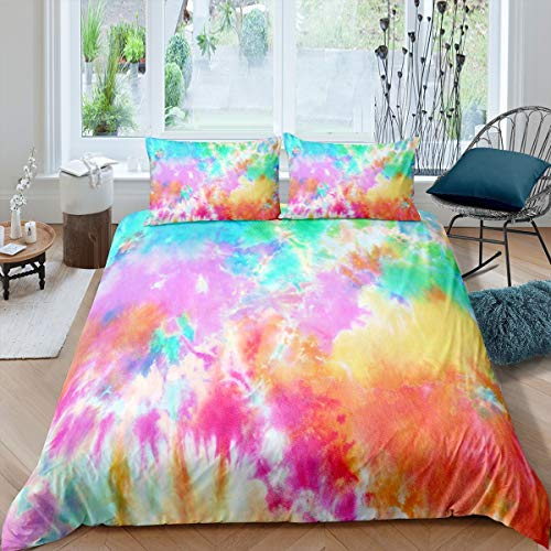 Loussiesd Tie Dye Bedding Set for Girls Boys Children Boho Psychedelic Comforter Cover Decorative Colorful Tie Dye Duvet Cover Bohemian Gypsy Bedspread Cover King Size Bedding Collection 3Pcs