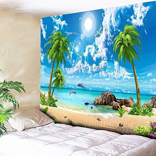 WERT Psychedelischer Waldteppich Meer Kokosnussbaum Wandbehang Strandteppich 3D große Wandbehang Boho Home Wandteppich A4 130x150cm