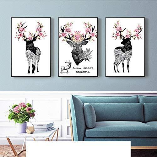 Stella Fella 3 unids/Set de Marco Dorado Elk nórdico Flores Pintura Decorativa Pintura Mural murales de Animales 40 * 60 CM HD Micro-Spray Simple Moderno hogar Sala de Estar sofá Hotel cálido
