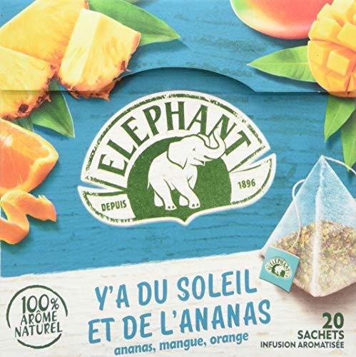 Elephant, Infusion Aromatisee Ananas Mangue Orange, Arome 100% Naturel, 20 Sachets