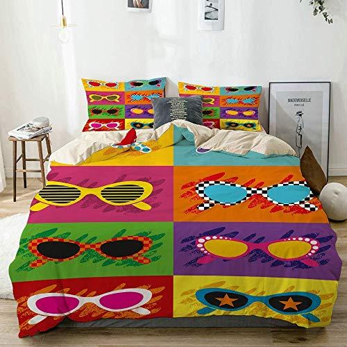 Juego de Funda nórdica Beige, Divertidas Gafas de Sol con Estampado de Colores, Decorativo Juego de Cama de 3 Piezas con 2 Fundas de Almohada Fácil Cuidado Anti-alérgico Suave Suave