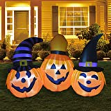 GOOSH 6FT Inflatable Halloween Pumpkin Combo Halloween Decorations Outdoor Inflatables Pumpkin,Halloween Blow Up Yard Outdoor Decorations