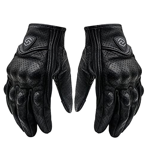 Guantes Moto Cuero - Guantes Piel Homologados - Guantes Piel Moto - Trial - Motocross - Pantalla táctil (M, Negro)