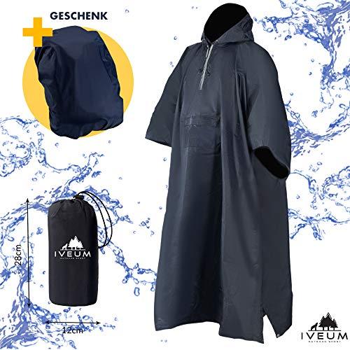 IVEUM 3 in 1 Regenponcho inkl. Tasche und Rucksackschutz geschenkt – extra lang – Regenschutz für Männer und Frauen – Regencape für's Wandern und für den Alltag (L)