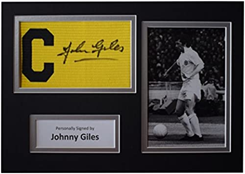 Sportagraphs Johnny Giles Signed Captains Armband A4 photo display Leeds United Football COA Perfect GIFT