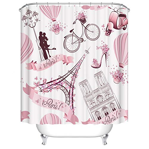Pink Girl Fantasy Print Badezimmer Mädchen Duschvorhang Stoff Wasserdichtes Polyester Mit Haken Duschvorhang, 150x180cm