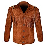 LEATHERAY Western Leather Jackets for Men Cowboy Leather Jacket and Fringe Beaded Coat Suede Leather shirt Tan Brown L