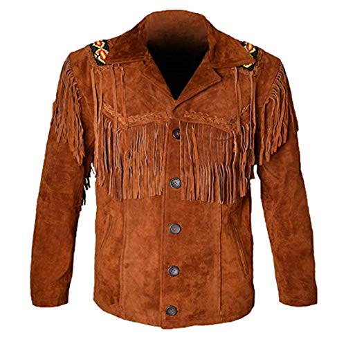 LEATHERAY Western Leather Jackets for Men Cowboy Leather Jacket and Fringe Beaded Coat Suede Leather shirt Tan Brown XL
