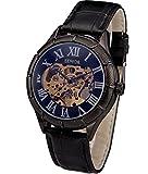 SEWOR Reloj de Pulsera mecánico Transparente con Esqueleto Hueco (Azul Negro)
