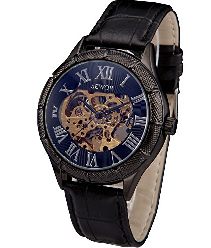 SEWOR Reloj de Pulsera mecánico Transparente con Esqueleto Hueco (Azul)