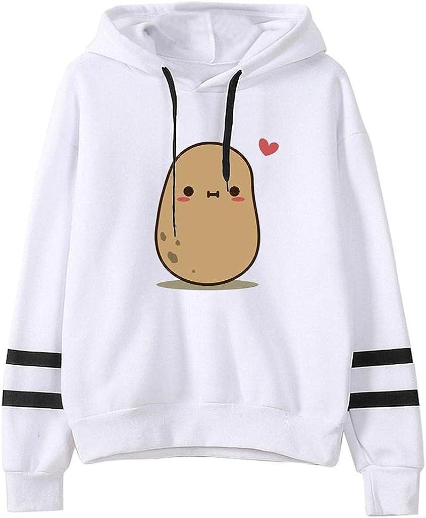 Women Sweatshirts,Womens Sweatshirts Hoodie Cute Cartoon Potato Graphic Teens Girls Jumper Hooded Pullover